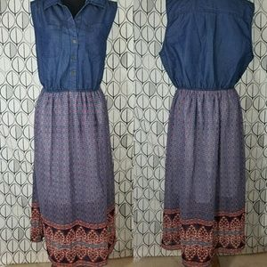 Chambray Bodice Maxi Boho floral Paisley Dress NWT